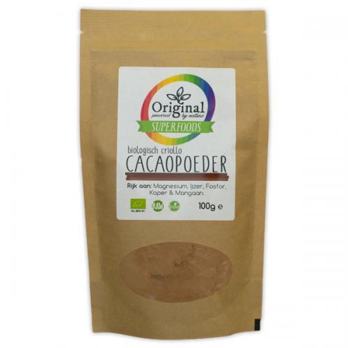 Original Superfoods Biologische Criollo Cacaopoeder 100 Gram